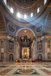 Sun beams inside St. Peter's Basilica