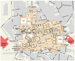 Karte des Großen Basars im Istanbuler Stadtteil Fatih