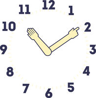 Hand watch. Minute and hour markers as hands.