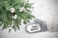 Gray Glove, Tree, Silver Ball, Calligraphy Happy Birthday, Snowflakes