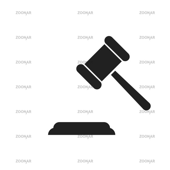 Judge hummer or gavel icon isolated. Auction or judgement symbol. Law or court element.