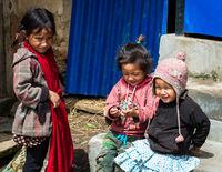 Three Nepali girls in Lamjung district, Nepal