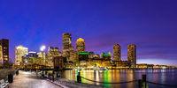 Boston Downtont night Panorama
