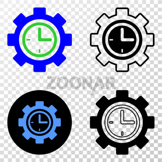 Clock Setup Wheel Vector EPS Icon with Contour Version