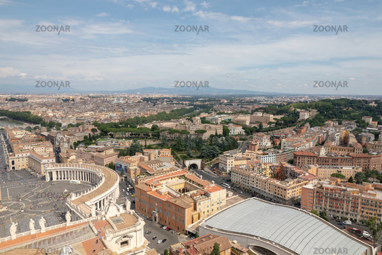 Panoramic view on the St. Peter's square and city of Rome