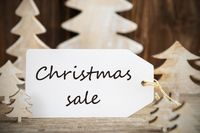 Christmas Tree, Label With English Text Christmas Sale