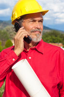 Architect, Contractor with Yellow Hardhat outdoor portrait