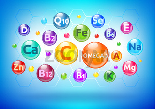 Vitamin and mineral complex, colorful bubbles, balls with letters