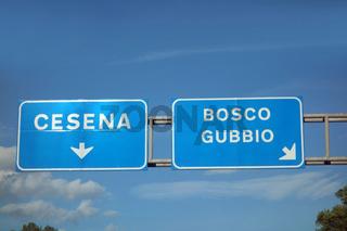 autobahnschild a14, cesena, valfabbrica, ancona