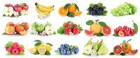 Früchte Frucht Obst Collage frische Apfel Orange Kirschen Orangen Erdbeere Äpfel Trauben Freisteller freigestellt isoliert