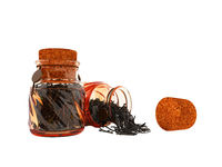 Glass jars with dry black tea for storage from the front from the bottom 3d render on a white background no shadow