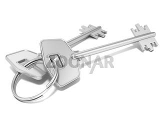 Door keys isolated on white