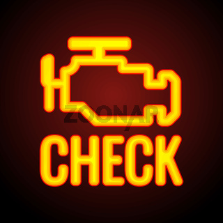 Glowing Check engine light symbol that pops up on car dashboard when something goes wrong with the engine, vector illustration