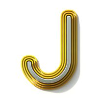 Yellow outlined font letter J 3D