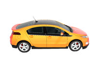 Modern electric car orange red for city side perspective 3d render on white background no shadow