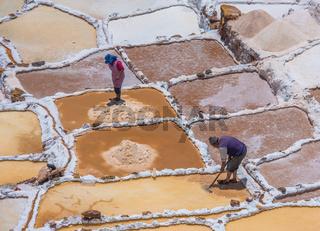SALINAS DE MARAS, PERU - OCTOBER 12, 2015: Workers extracting salt at Salinas de Maras, man-made salt mines near Cusco, Peru