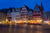 Historic old town hall of Frankfurt at night