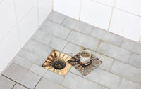 Floor drain in an old shower