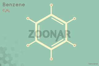 Infographic of the molecule of Benzene