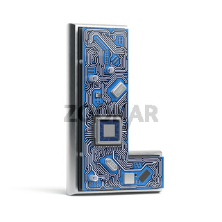 Letter L.  Alphabet in circuit board style. Digital hi-tech letter isolated on white.