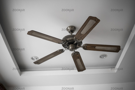 Picture of wooden ceiling fan inside the living room.