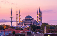 Wonderful Blue Mosque of Istanbul in the purple colors of sunset