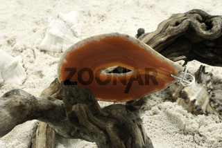 Orange Agate Stone On Dry Tree Branch. Sand And Seashells On The Background