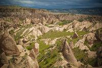 Landscape panoramic view to Devrent valley aka valley of imagination, Cappadocia, Turkey