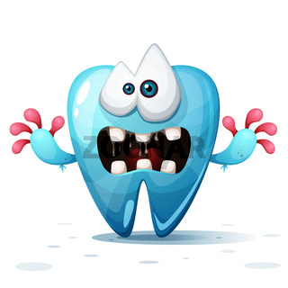 Cute, funny, crazy cartoon tooth illustration.