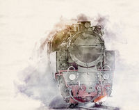 Watercolor Steam Locomotive