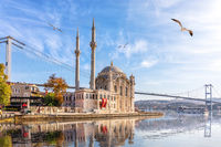 Beautiful Ortakoy Mosque and the Bosporus, Istanbul, Turkey