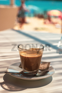 Espresso at a Beach Cafe With the  Mediterranean Sea in the Background