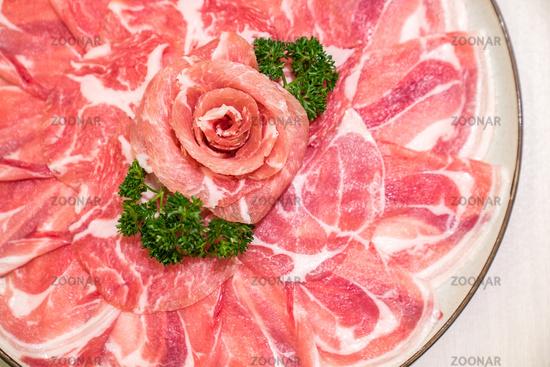 Raw Pork meat sukiyaki