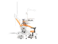 Dental equipment for dentist orange with armchair and bedside table with tools 3d render on white background with shadow
