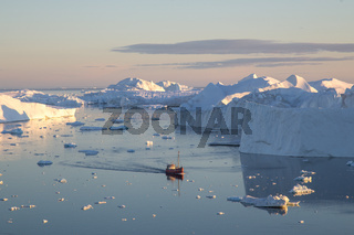 Red Fishing Boat in Ilulissat Icefjrod
