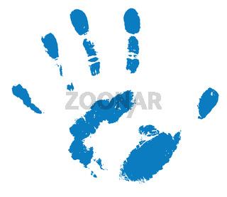 blue human handprint on white