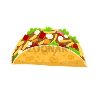Traditional mexican food - taco, delicious tacos, isolated on white