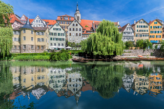 View of the historic old town of Tübingen, Germany with scenic reflection of the houses in the water