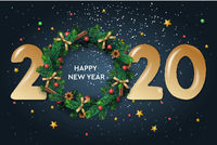 Happy New Year 2020 text design. Vector greeting illustration with and Christmas wreath on dark background.