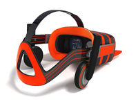 Modern VR glasses with built-in headphones gray orange 3d rendering on white background with shadow