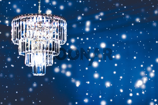 Luxury chandelier with crystal glass, interior design and home decor lighting detail