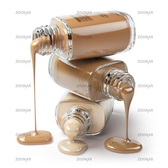 Make up liquid foundation cream cosmetics bottles isolated on white background.