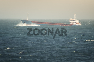 Crude Oil Tanker Sailing Through Rough Sea
