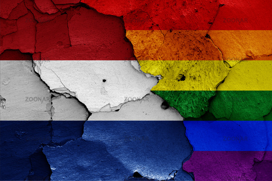 flags of Netherlands and LGBT painted on cracked wall