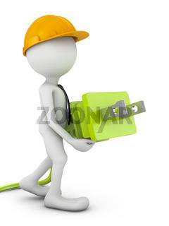 man with electric plug