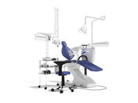 Concept modern dental equipment for dental treatment with a bedside table with a stool 3d render on a white background with a shadow