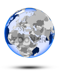 Lebanon on globe