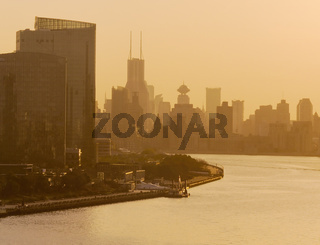 Sunset Over The Huangpu River And Skyline Of Shanghai, China