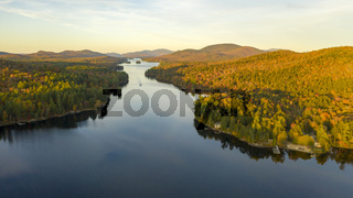 Aerial View Over Long Lake Adirondack Park Mountains New York USA