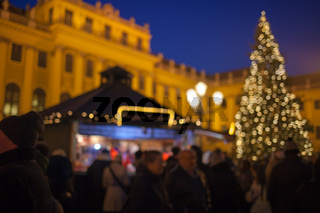 Christmas market in the Advent season in Vienna Schönbrunn Palace. Blurred background